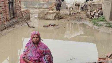 Photo of दबंग ने किया रास्ते को बाधित, रास्ते में भर गया पानी,दिव्यांग महिला को निकलने में हो रही परेशानी