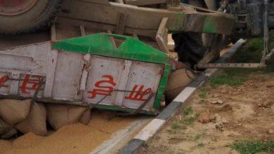 Photo of ट्रक ने मारी ट्रैक्टर में टक्कर ट्रॉली में लदे गेहूं हुए बर्बाद